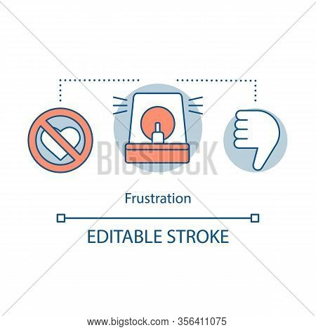 Frustration Concept Icon. Disappointment Idea Thin Line Illustration. Dislike In Social Network. Hos