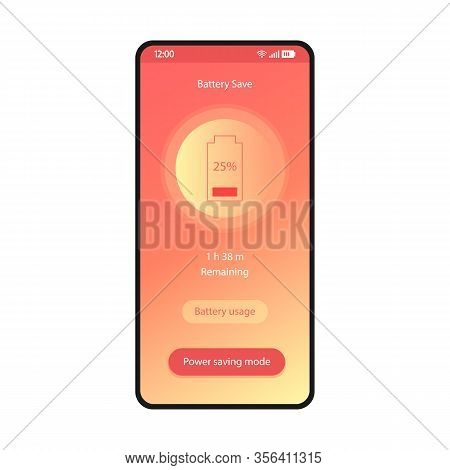 Battery Saver, Phone Optimizer App Smartphone Interface Vector Template. Mobile Utility Application