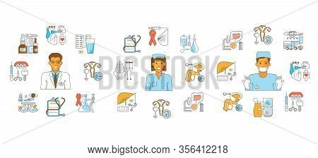 Medical Aid Fond In Flat Line Style. Male And Female Doctor Surgeon And Medicine Icons. Isolated On