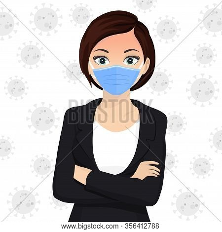 Woman Use Face Mask. Disposable Medical Surgical Blue Protective Mask. Vector