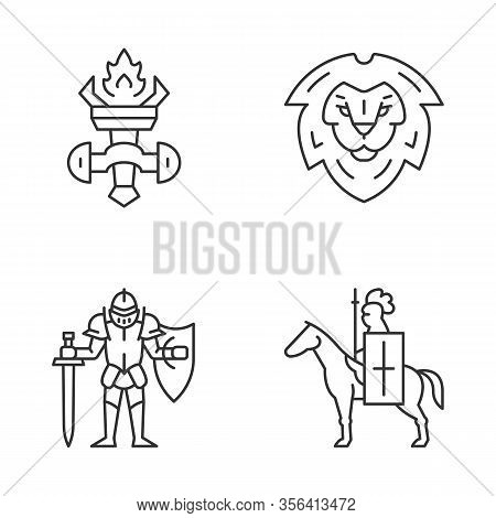 Meddieval Linear Icons Set. Burning Torch, Lion Head Shield, Knight In Full Armor, Horse Knight With