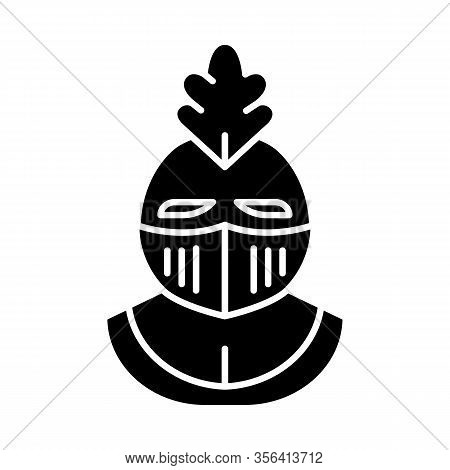 Knight Helmet Glyph Icon. Medieval Helm. Gladiator Helmet. Protective Headgear Of Knights Or Soldier