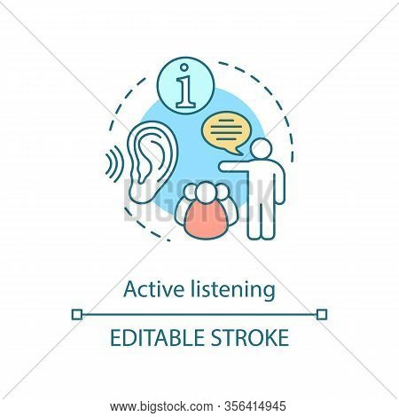 Active Listening Concept Icon. Information Transfer. Speaking Man, Group Of People. Public Speaking.