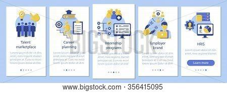 Talent Management Onboarding Mobile App Page Screen Vector Template. Internship Program, Marketplace