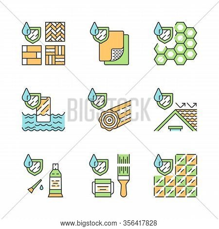 Waterproofing Color Icons Set. Water Resistant Materials, Surfaces. Hydrophobic Technology. Waterpro