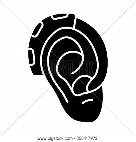 Hearing Aid Amplifier Glyph Icon. Hearing Loss Therapy. Acoustic Sound Enhancer. Amplification, Assi