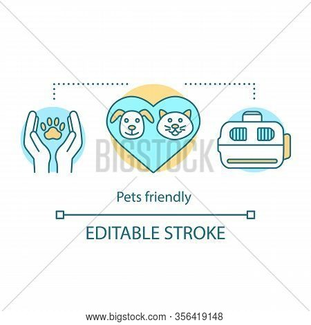 Pets Friendly Hotel Concept Icon. Animals Welfare. Pet Care. Veterinary Service, Clinic. Cats And Do