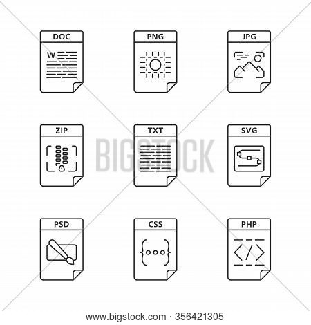 Files Format Linear Icons Set. Image, Multimedia, Text, Spreadsheet, Webpage Files. Doc, Png, Zip, T