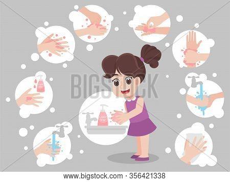 Children Washing Hands For Prevent Virus Wuhan Covid-19.corona Virus,hand Washing Step, Rinse Dry Ha