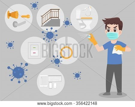 Man Wearing A Surgical Protective Medical Mask For Prevent Virus Wuhan Covid-19.corona Virus, Washin