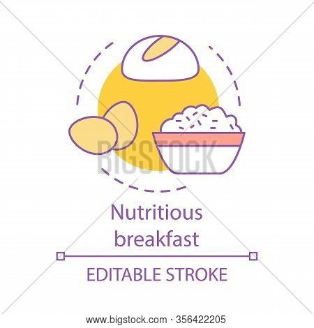 Nutritious Breakfast Concept Icon. Healthy Meal. Balanced Brunch. Bread, Eggs, Porridge. Diet Food.