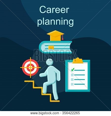 Career Planning Flat Concept Vector Icon. Professional Growth Idea Cartoon Color Illustrations Set.