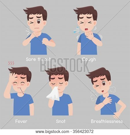 Set Of Man With Different Diseases Symptoms - Sore Throat, Cough, Fever, Snot, Breathlessness.health