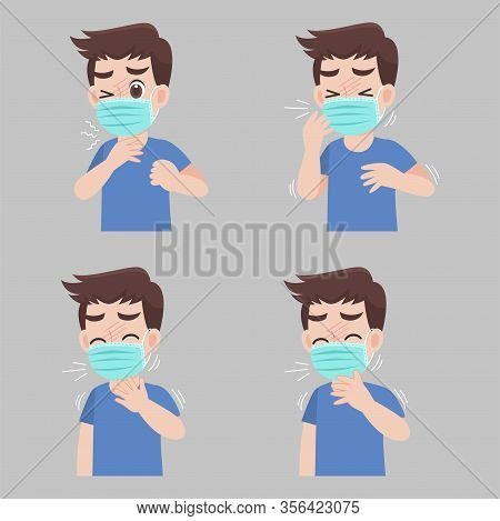 Set Of Man With Different Diseases Symptoms - Fever, Cough, Sore Throat. Wearing A Surgical Protecti