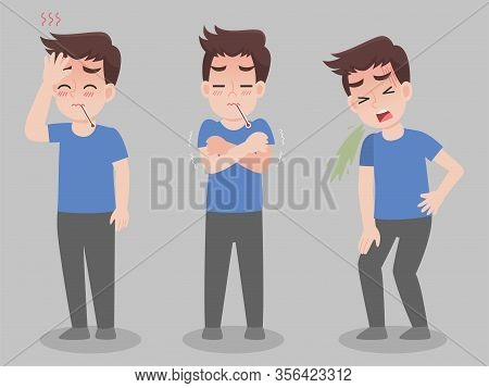 Set Of Man With Different Diseases Symptoms - Fever, Sick, Illness, Vomit. Cartoon Character Design.