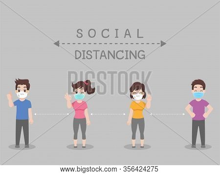 Social Distancing, People Keeping Distance For Infection Risk And Disease ,wearing A Surgical Protec