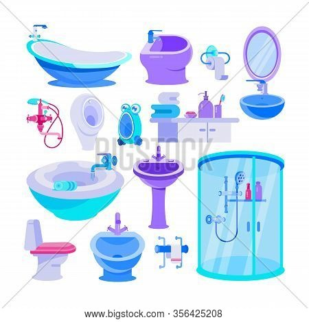 Bath Equipment For Bathroom Vector Illustration Set. Cartoon Toilet Bowl And Seat, Bathtub, Furnitur