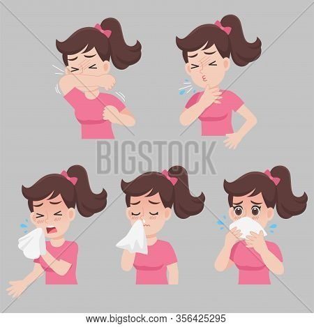 Set Of Woman With Different Diseases Symptoms - Sneeze, Snot, Cough, Fever, Sick, Ill, Cartoon Chara