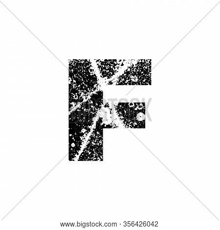 Painted Letter F. Abstract Handmade Sans Serif Typeface. Distress Textured Font. Ink Splatter Surfac