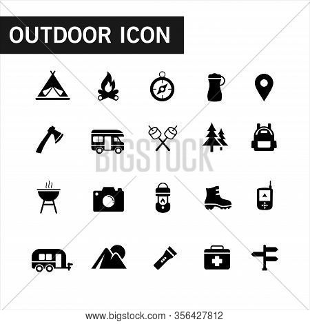 Icon Collection Of Outdoor Activities And Adventures In The Wild Such As Tent, Compasses, Mountain A