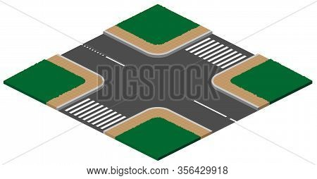 Unregulated Crossroads Intersection With Pedestrian Crossing 3d Isometric Icon Illustration. Vector