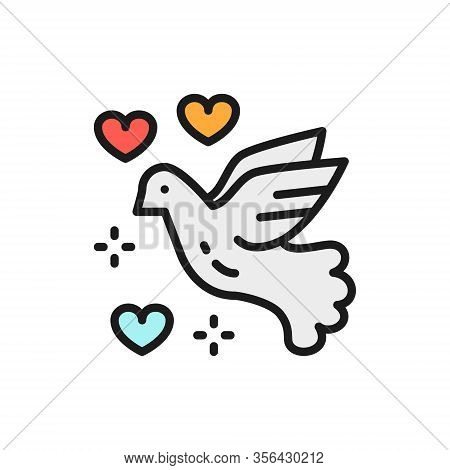 Dove Of Peace, Love Bird, Pigeon, Pacifism Flat Color Line Icon.