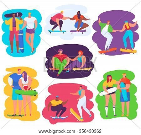 Skateboard People Vector Illustrations. Cartoon Happy Teen Boy Girl Characters Jumping On Board, Ska