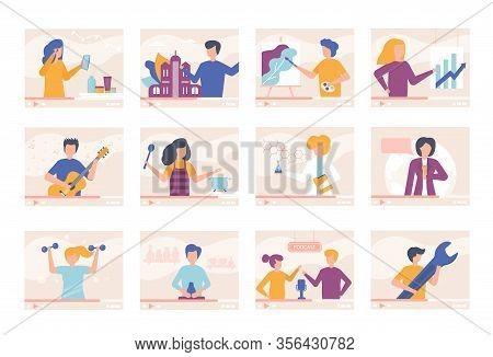 Video Tutorials Blogger People Online Training Videos Vector Illustration Set. Men, Women Talk About