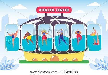 Fitness And Athletic Center, Gym For Different Kinds Of Sport, Athlete Bodybuilding Vector Illustrat
