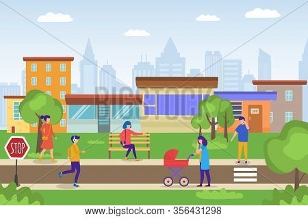 Casual People Walking In Eco Green Cityscape, Mother With Baby Carriage, Young Man Jogging, Woman Ca
