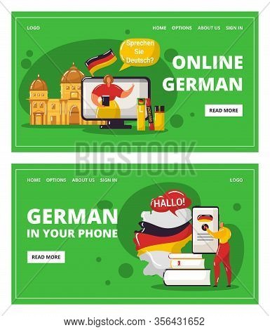 Learning German Language Online With Teacher, Education In Your Telephone Vector Illustration. Webin