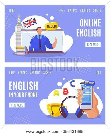 Learning English Language Online With Teacher, Education In Your Telephone Web Banners Set Vector Il