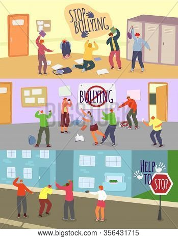 School Children Bullying Vector Illustrations. Cartoon Angry Boy Girl Teenager Mocking Unhappy Schoo
