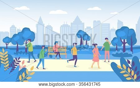 City People Walking Street And Park Vector Illustrations. Cartoon Woman Man Characters In Outdoor Pa