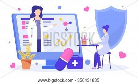 Online Medical Education Of Doctor Vector Illustration. Mentor Giving Teaching Scientific Researchin