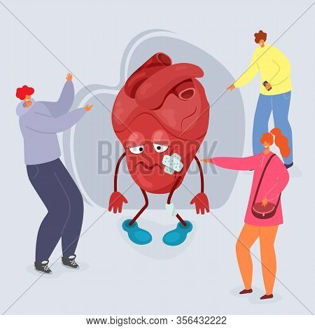 Bullying Vector Illustration, People Tease Cartoon Unhappy Heart With Wounds. Group Of Bully Teenage