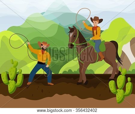 Two Cowboys With Horse On Ranch Of Wild West Vector Illustration Hand Drawn. Men Or Father And Son I
