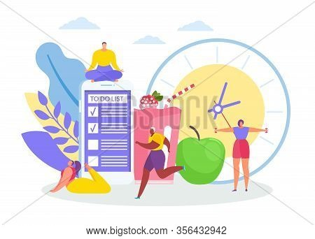 Morning Concept With Men And Women Jogging, In Yoga Asanas, Morning Exercises, Huge Clock, To Do Lis