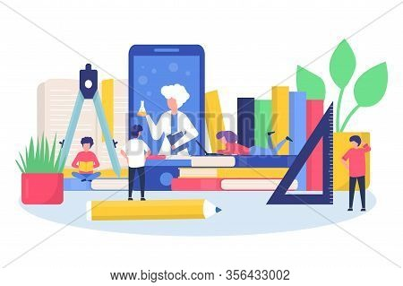 Online Education Training School With Childrens Learning In Mobile App, Books, Computer Vector Illus