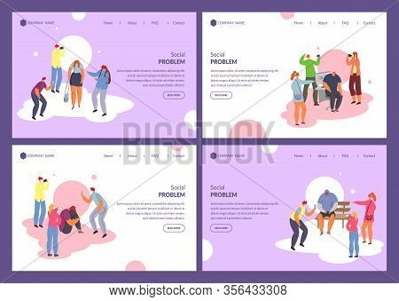 Social Problems Teens And Adult People, Bullying At School Set Of Banners, Vector Illustration. Bull