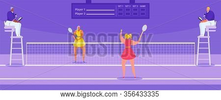 Tennis Championship Players Athletes With Tennis Racket And Judges, Sport Tournament Vector Illustra