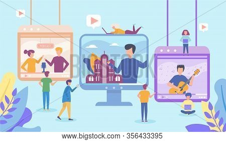 Video In Internet Online Vector Illustration Of Young People Using Laptop And Tablet To Watch Live V