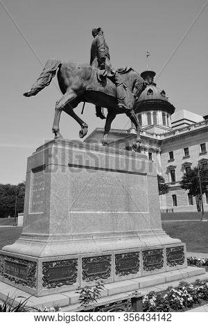 Columbia Sc Usa 06 27 2016: Wade Hampton Iii Equestrian Statue Was A Confederate Cavalry Leader Duri