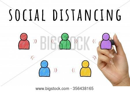 Social Distancing Doodle Sign Hand Written With Marker Pen - Corona Virus Global Epidemic Personal H