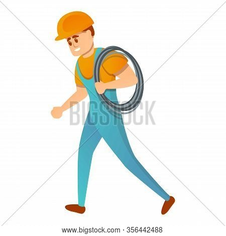 Lineman With Cable Icon. Cartoon Of Lineman With Cable Vector Icon For Web Design Isolated On White