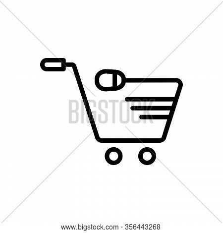 Black Line Icon For Online Internet Digital Consumer Basket Purchase Cart Trolly Shopping
