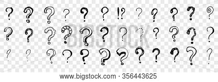 Hand Drawn Question Marks Set Collection. Doodles. Pencil And Ink Various Scattered Question Marks.