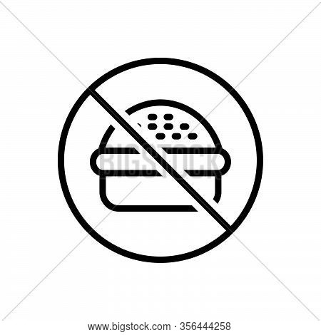 Black Line Icon For No Nope Prohibited Burger Fastfood Forbidden Ban Unhealthy Junkfood