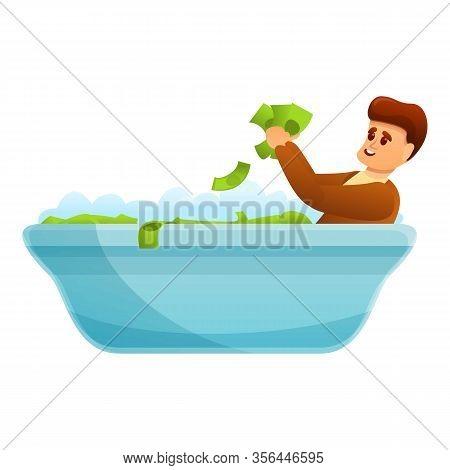 Bathtub Of Dollars Icon. Cartoon Of Bathtub Of Dollars Vector Icon For Web Design Isolated On White