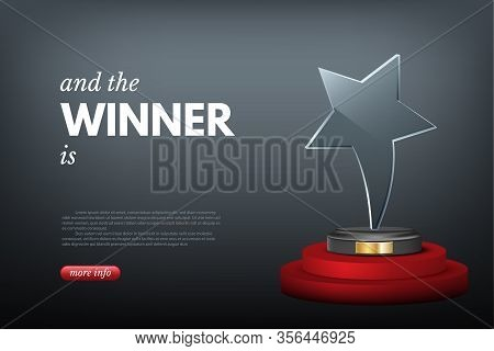 Landing Page Layout With Winner Award Realistic Design. Goal Achievement, Success, Leadership. Victo